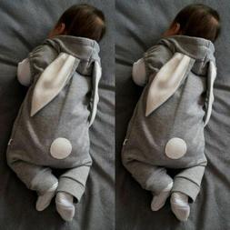 0-24M Baby Boy Girl Kids Rabbit Romper Hooded Jumpsuit Bodys