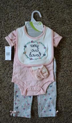 """0-3 months Girl's 4 Piece Set. """"You Are Loved"""" Baby Gear. Br"""