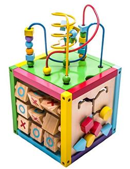 6-in-1 Play Cube Activity Center Wood Colorful Kids Toys for