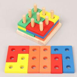 1 Set Wooden Geometric Matching Board Block Stack Sort Puzzl