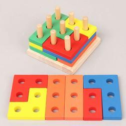 1 set wooden geometric matching board block