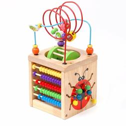 Victostar 6 in 1 Wooden Activity Cube Bead Maze Multipurpose
