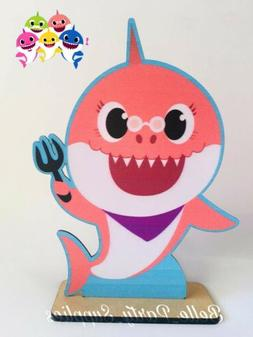 10 baby shark orange wood cutout centerpiece