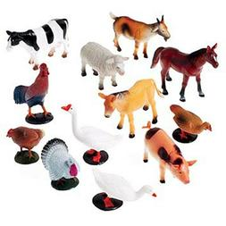 12 Mini Farm Animals Small Toy Educational For Kids Game Pla