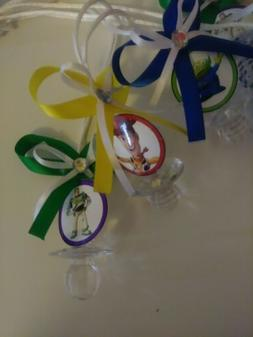 12 Toy Story Theme Baby Shower Pacifier Necklaces Favors