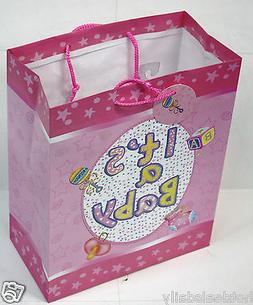"12PC LARGE BABY SHOWER GIFT BAG ASSORTED COLORS 5"" X 11"" X 1"