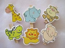 12pcs of Lovely wood animal clips for your baby shower decor