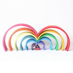 12Pcs Wooden Rainbow Stacking Blocks Game for Baby Toddler M