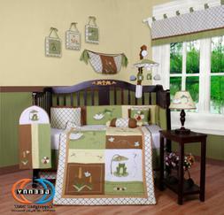 13PCS Leap Froggy Froggie Baby Nursery Crib Bedding Sets - H