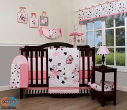 13PCS New Pink Butterfly Baby Nursery Crib Bedding Sets  Hol