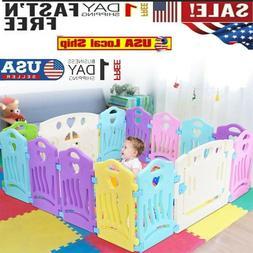 14 Panel Baby Safety Play Yards Kids Folding Playpen Activit