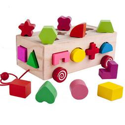 16 Holes Intelligence Box Wooden Different Shape Sorter Baby