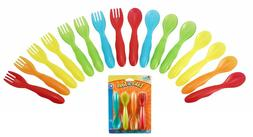 16 Pcs Fork & Spoon Flatware Set Toddlers Babies Infants Kid