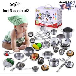 16Pc Set Kid Baby Play House Kitchen Toys Cookware Cooking U