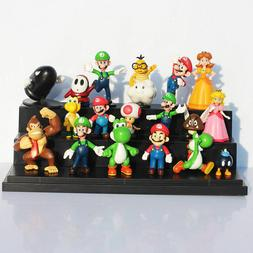18Pcs Super Mario Bros Cake Toppers Action Figures Display P