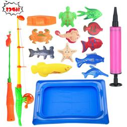 18pcs Bath Toys For Kids Fishing Magnetic Toys Floating Fish