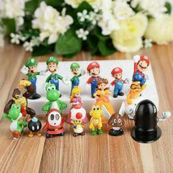 18pcs Super Mario Bros Figures Cake Topper Cute Toy Gift Yos