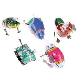 1Pc Kids classic toy tin wind up clockwork toys jumping iron