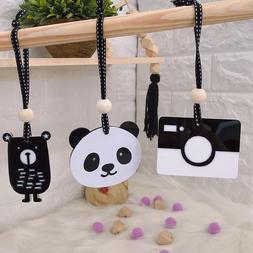 1Pcs Wood Beads Camera Panda Baby Teething Sensory Hang Play