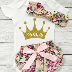Newborn Kid Baby Girl One&Crown Romper+Shorts Bloomers Outfi