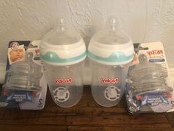 2 Nuby Comfort Anti-Reflux Anti-colic Baby Bottles 9oz + 4 0