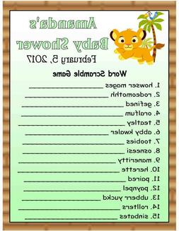 20 LION KING BABY SIMBA BABY SHOWER GAME CARDS ~ PERSONALIZE