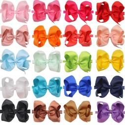 20pcs 6 In Baby Bow Headbands Solid Ribbon Big Hair Bows for