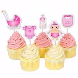 20pcs Baby Bottle Strollers Clothes Cupcake Toppers Pick Car