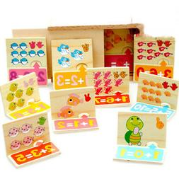 20pcs Baby Wood Puzzle Toy Jigsaw Animals Number Math Learni