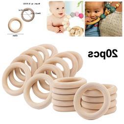 20pcs Natural Wooden Rings Teether DIY Baby Teething Chewing