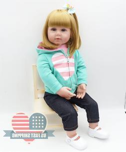 """24"""" Golden Hair Reborn Baby Dolls Lifelike Toddler Girl Soft"""