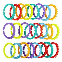 24Pcs Baby Teether Toys Colorful Rainbow Rings Stroller Hang
