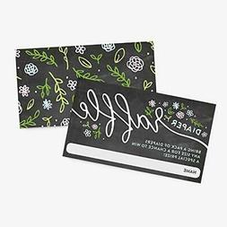25 Floral Handlettered Baby Shower Diaper Raffle Ticket Inse