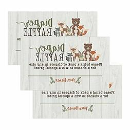 25 Woodland Animals Diaper Raffle Ticket Lottery Insert Card