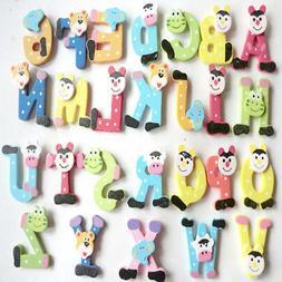 26pcs Wooden Cartoon Alphabet A-Z Magnets Child Educational