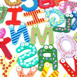 26x Wooden Alphabet Letters Fridge Magnet Baby Kids Child Ed