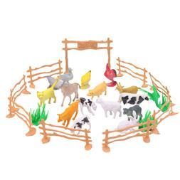 28PCS Similation Mini Plastic Cute Farm Animal Toy Animal Pl