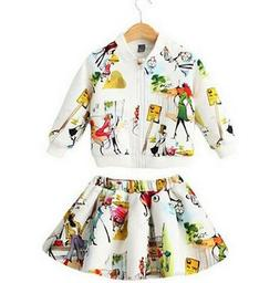 2pc Baby Girls Clothing Floral Top Long Sleeve Zipper Coat+S