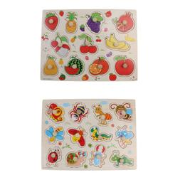 2PC Montessori Wooden Toy Puzzle for Kids Toddlers - Fruits