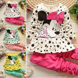 2pcs Toddler Kids Baby Girls Minnie Mouse Outfits Clothes Se