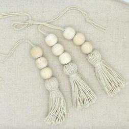 2x Tassle Farmhouse Beads Natural Wood Bead Garland Kids Bab