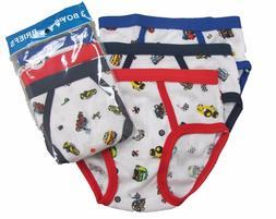 3 Boy's Briefs in a Pack Underwear Cotton Blend White W/Prin