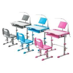 3 Colors Student Desk and Chair Set Adjustable Child Study w