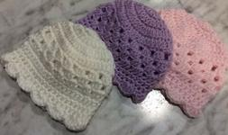 3 crocheted Handmade baby Girl Set hats 0-3 Newborn White Pu