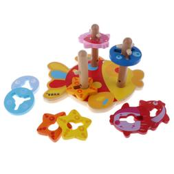 3 Pillar Color & Shape Matching Toy Wooden Montessori Toys f