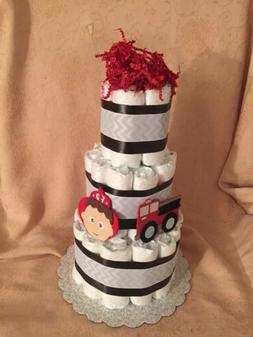 3 tier diaper cake fire truck fireman