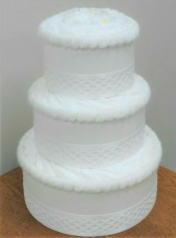 3 Tier White Diaper Cake Themed Baby Shower Centerpiece Gift