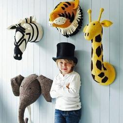 3D Felt Stuffed Animal Head Wall Hanging Baby Kids Room Deco