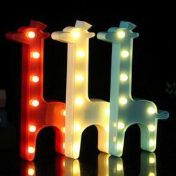 3D Giraffe Animal Night Light Nursery Kid Baby Bedroom Led L