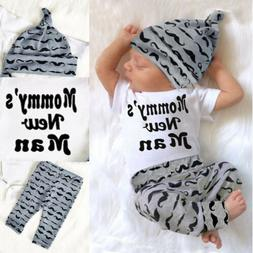 3PC Newborn Baby Boy Romper Jumpsuit Tops + Long Pants + Hat